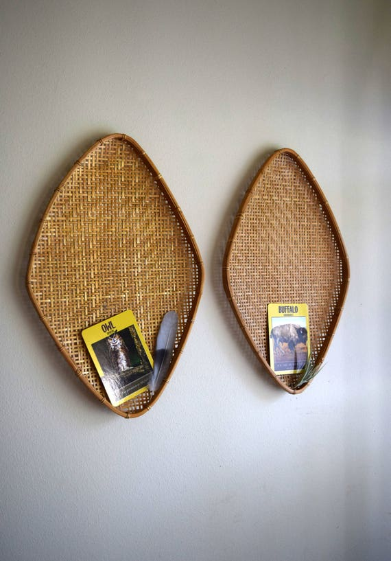 Vintage Hand Woven Oval Bamboo Wall Baskets -  Bohemiam, Farmhouse, Natural, Ecletic