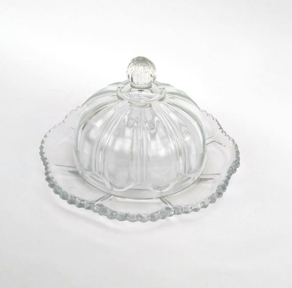 Vintage 1950's Pressed Glass Bell Cloche and Dish