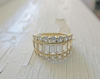 14K Yellow Gold Ring Statement CZ Engagement Ring Emerald Cut Baguette Wedding Ring 5.4g Estate Vintage Ring Wedding Bridal Jewelry