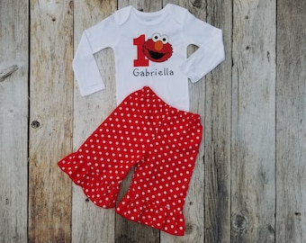 Elmo Ruffle Outfit /Presonalized Onesie or Shirt + Pants / Red & White / 123 Sesame Street / Birthday / Baby / Girl/ Toddler/ Boutique