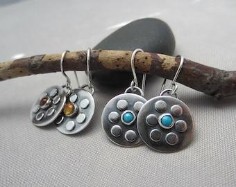 SALE 20% OFF/ Metalsmith Earrings/ Citrine Earrings/Citrine Bezel earrings/ Oxidized Silver Earrings/ Silver Dangle earrings with Citrine