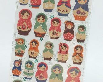 Matryoshka Craft Seal Deco Sticker (1 sheet)