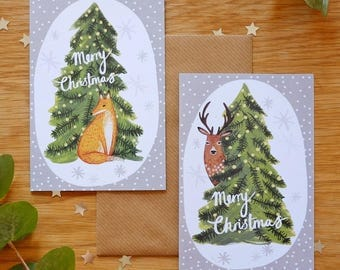 Six mixed illustrated Fox & Deer Christmas Tree cards