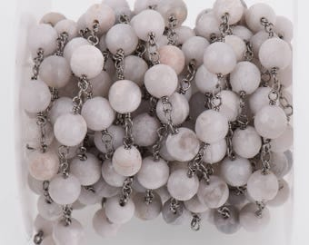 3 feet (1 yard) WHITE LACE AGATE Gemstone Rosary Chain, gunmetal black links, double wrapped 8mm round gemstone beads, fch0718a