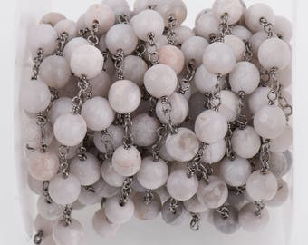 13 ft (4.33 yards) WHITE LACE AGATE Gemstone Rosary Chain, gunmetal black links, double wrapped 8mm round gemstone beads, fch0718b