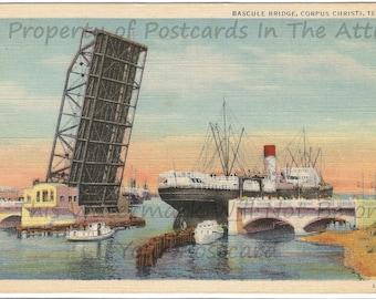Bascule Bridge, Corpus Christi, 1933 Curteich Vintage Linen Postcard