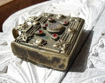 Kuchi Indian small red jewel rectangle box tarnished light gold colour pendant