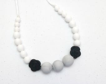 Silicone Teething Necklace | Nursing Necklace | Breastfeeding Necklace | Teething Necklace for Mom | Chewelry | Teething Jewelry | Marble
