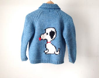 vintage SNOOPY mid century BLUE button up down cardigan cowichan style KID'S childrens sweater jacket coat Peanuts and the gang