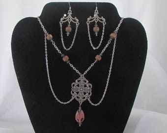 Chain and Salmon colored glass bead necklace and earring set