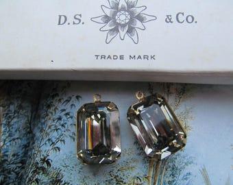 Vintage Swarovski Black Diamond Faceted Top Rectangle  Crystals