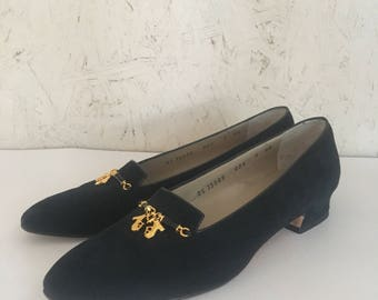 Vintage Salvatore Ferragamo Black Suede Flats with Platform Charms Made in Italy Size 9 AA