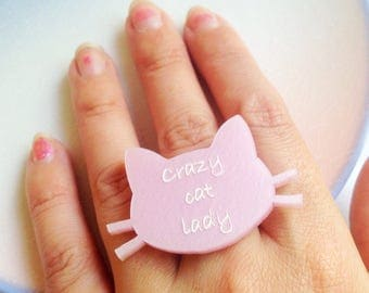 Cat Ring - Crazy Cat Lady, Cat Lover, Animal Gift, Pearlised Pink, Statement, Laser Cut