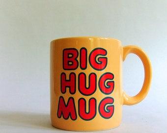 Vintage Big Hug Mug - FTD, Peach, Red, Bubble Font, 1980s, Coffee Cup, Office, Ashtray, True Detective TV Series, HBO, Matthew McConaughey