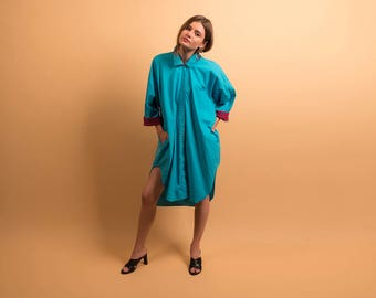 80s Oversized Shirt Dress / Cotton Shirt Dress / High-Low Dress / Slouch Dress Δ fits sizes: S/M/L