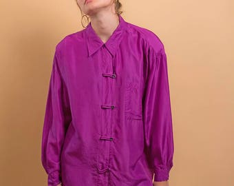 Oversized Silk Blouse  / Button Down Blouse / Loose Fit Blouse / Minimalist Top Δ size: S/M