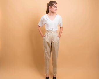 90s High-Waist Pleated Pants / Khaki Pleated Pants / Baggy Cotton Pants /  Chino Trousers Δ size: M