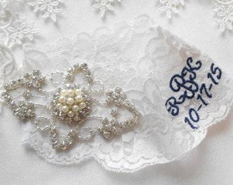 Wedding Garter Set Ivory or White Stretch Lace Bridal Garter Set With Soft Blue Pearl and Rhinestone Setting Garter Set.