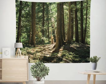 Cedar Forest Wall Tapestry, Trees Wall Tapestry, Forest Wall Art, Fern Forest Tapestry, Giant Cedars, Sunbeams, Large Wall Tapestries