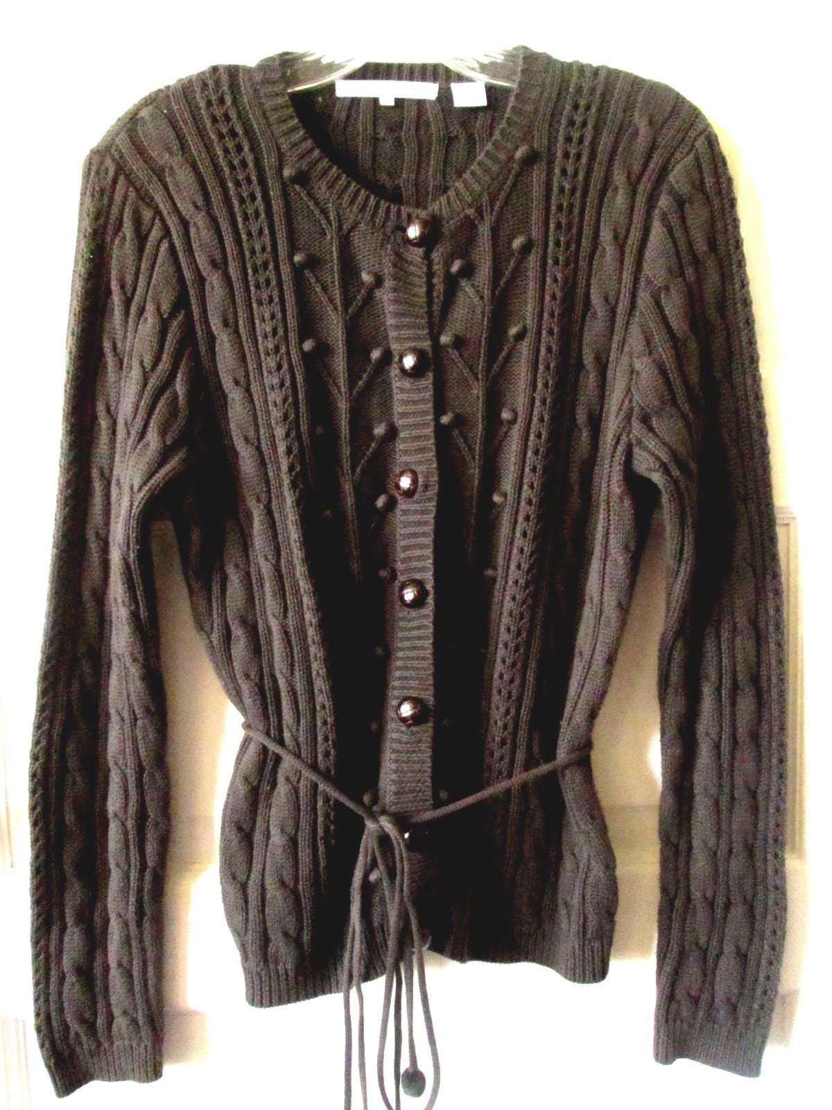 Brown Cotton Cardigan Sweater M NOS
