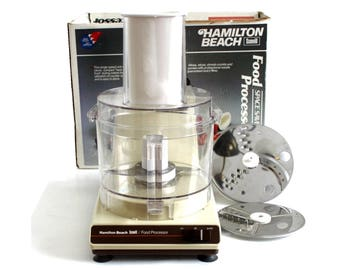 Complete Hamilton Beach Food Processor 717, Space Saver, Made in USA, Vintage 1980s Kitchen Appliances