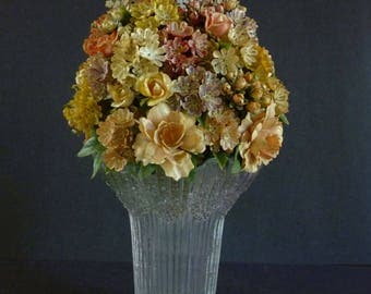 1960s European Artificial Flower Bouquet, Plastic Floral Arrangement – VASE NOT INCLUDED