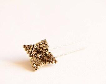 Gold Swarovski crystal flower bridal hair pin