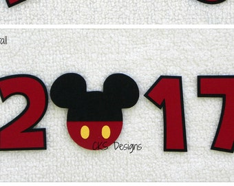 Die Cut Disney Vacation 2017, 2016, or 2015 Year Title Mickey Mouse Paper Piecing Embellishment for Card Making Scrapbook or Paper Crafts