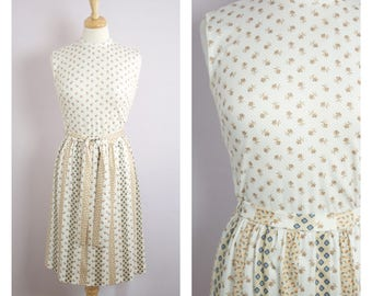 Vintage 1970's White + Tan Floral Stripe Top + Skirt Set Dress S