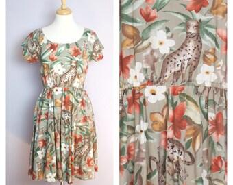 Vintage 1980's Leopard Jungle Dress M