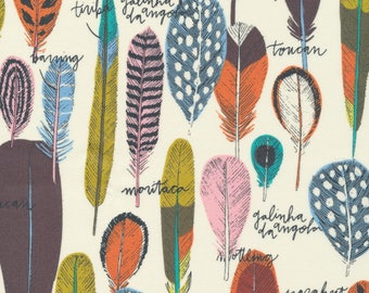 LAMINATED cotton fabric (similar to oilcloth) by the yard - Organic Matte - Floating feathers - WIDE - great for wipeable tablecloths apron