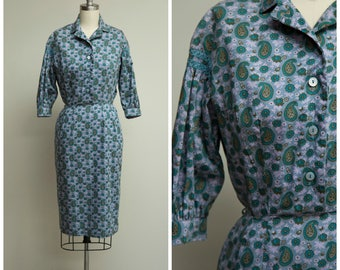 Vintage 1950s Dress • The First Day • Blue Floral Paisley Print Cotton 50s Shirtwaist Dress with Puffed Sleeves Size XSmall