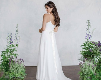 Simple Chiffon Wedding Dress V-Neck Slim light weight Destination Wedding Dress, A-line wedding dress with gathered bell skirt. Low Back