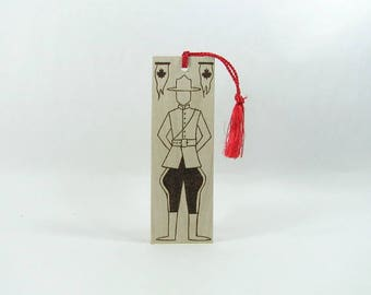 Wood Bookmark. Wood Pyrography. Canada. Mountie. RCMP. Maple Leaf. Book Nerd.  Book Lover. Unique Bookmark. Book Bag. Library.