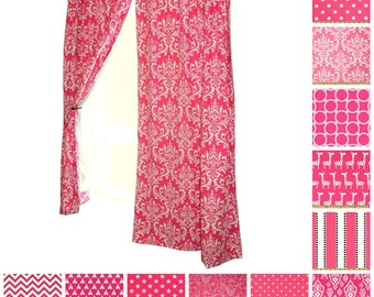 Hot Pink Curtains  Drapery Panels  Candy Pink Curtains  Nursery Curtains   Custom Window