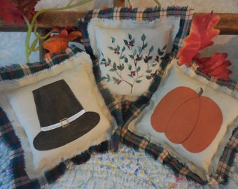 Primitive Folk Art Thanksgiving Pillow Tucks Turkey Give Thanks Bowl Fillers