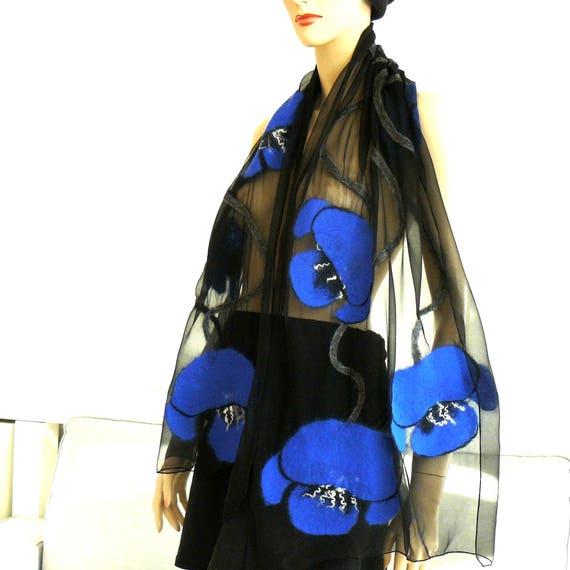 Clothing gift, Felted scarf, Merino flowers scarf, Felt silk scarf, Silk wrap, Womens silk scarf, unique scarf, silk scarf, Blumen
