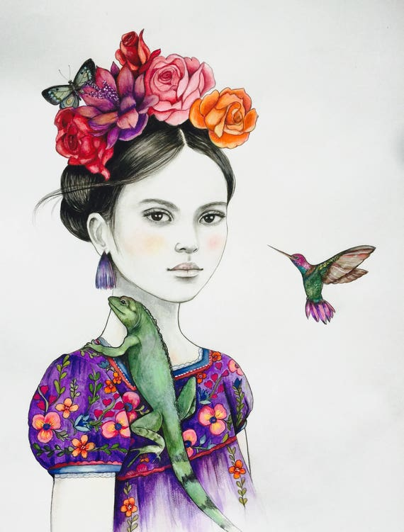 Iguana and hummingbird