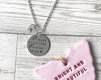 Memorial Necklace, Always On My Mind, Forever In My Heart, Hand Stamped Memory Necklace, Memorial Jewelry, Memorial Gift, Bereavement Gift