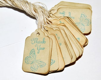 35 butterfly Thank You miniature xs Coffee stained vintage inspired favor gift tags. primitive. rustic. wedding.