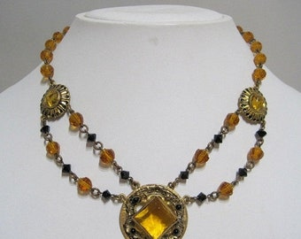ON SALE AMAZING Antique Art Deco Faceted Amber Lantern Bead Czech Pendant Necklace ** Antique 1920's 1930's Collectible High End Jewelry