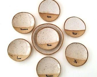 PEACE Mini- Rustic Jewelry Dish |Tea Bag Holder | Inspirational Gifts | Stoneware Favors | #SDMINI3-L