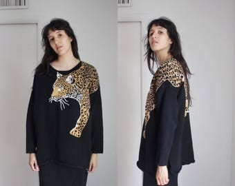 Vintage 80s Leopard Black Sweater Large