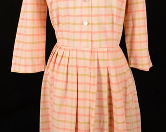 Vintage Peach and Pink Plaid Dress, Large Size