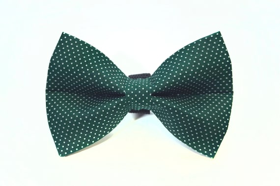 Forest Green Polka Dot Dog Bow Tie
