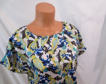UNDER THE SEA tropical fish coral reef blouse - novelty print - sz M