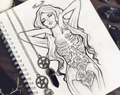 PREORDER I'm blooming for you skull tattoo design ravens grunge roses boho fantasy gothic occult sketch original art A5 (15x20 cm)