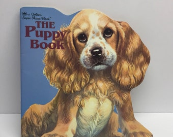 1968 The Puppy Book, a Golden Super Shape Book, by Jan Pfloog, Kitschy dogs puppies Scotty Terrier Spaniel Beagle