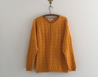 Vintage 80's Goldenrod Yellow Cotton Knit Sweater M