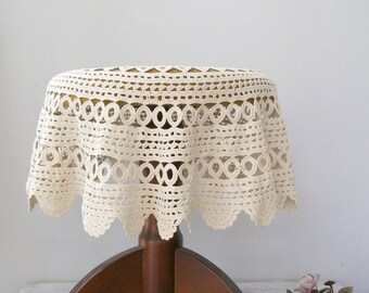Round Crochet Tablecloth, Retro Granny Kitchen Linen, Shabby Table Linen, Rustic Tablecloth Off White, Crochet Side Table Cover Big Doily